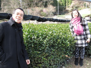 Yiemie and Hong Tong at matcha tea garden in Uji in Japan