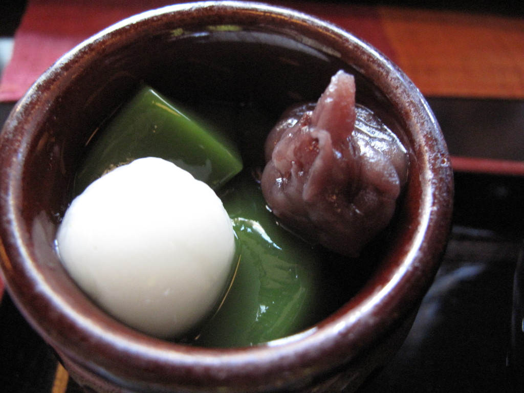 Matcha jelly with mochi and red beans