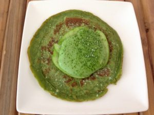 Homemade green tea pancake with green tea cream