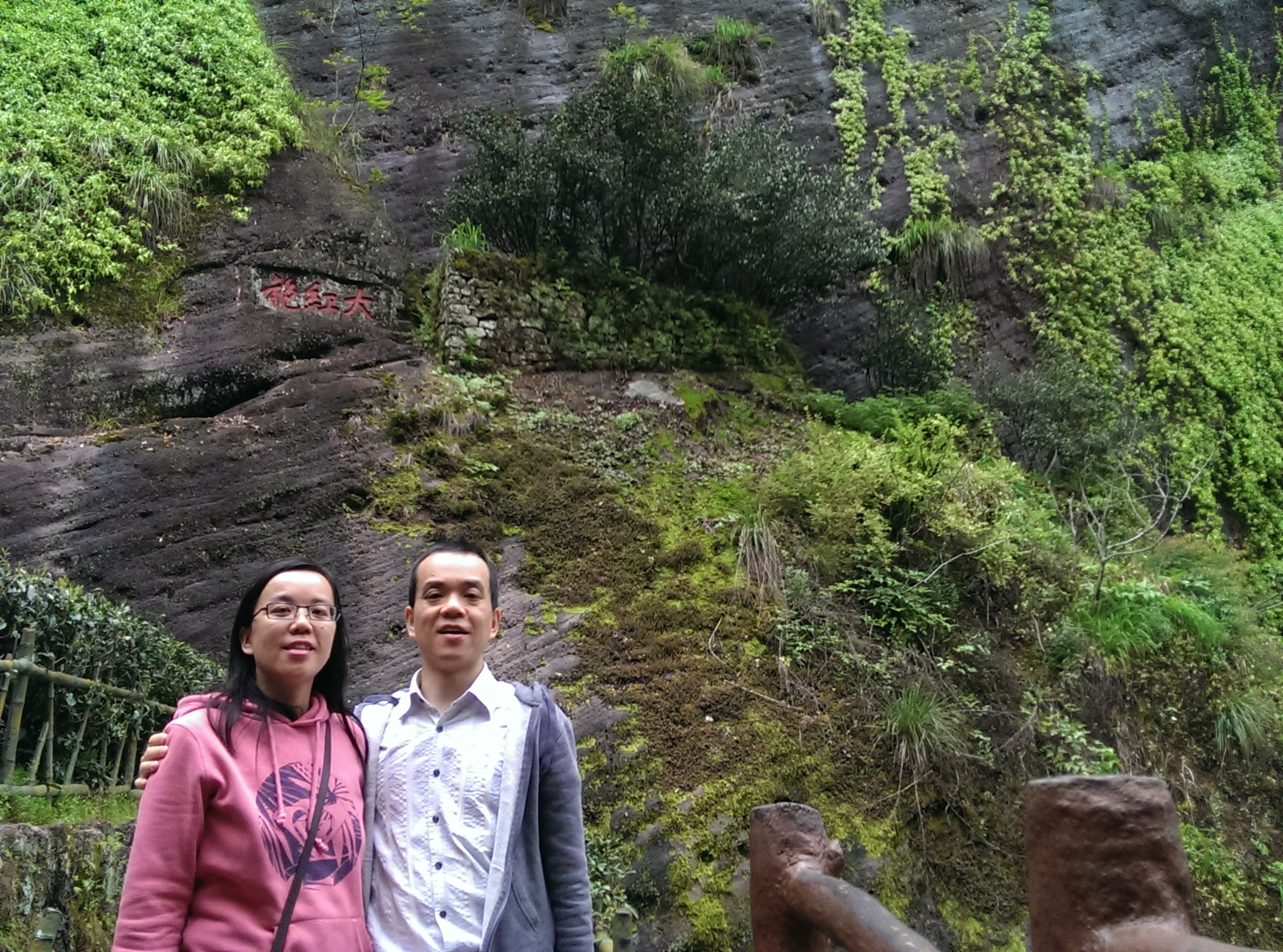 In front of the ancient Da Hong Pao tea bushes